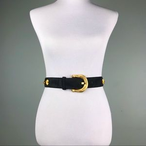 Escada Blue Suede Gold Wheat Bale Belt Size S